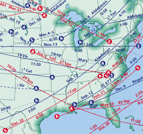 Occultations map