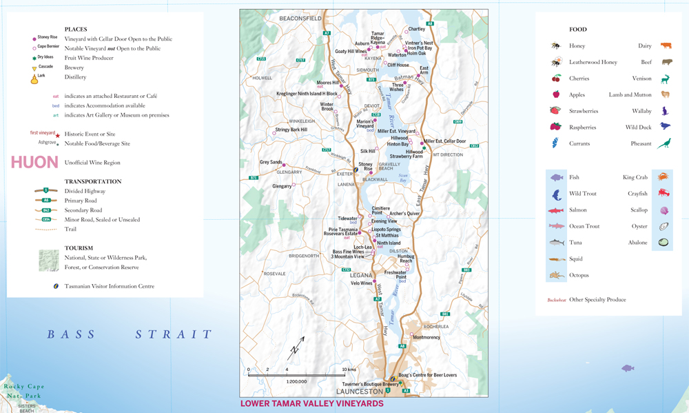 Tasmania Wine Gastronomy Map with Breweries and Distilleries vW Maps