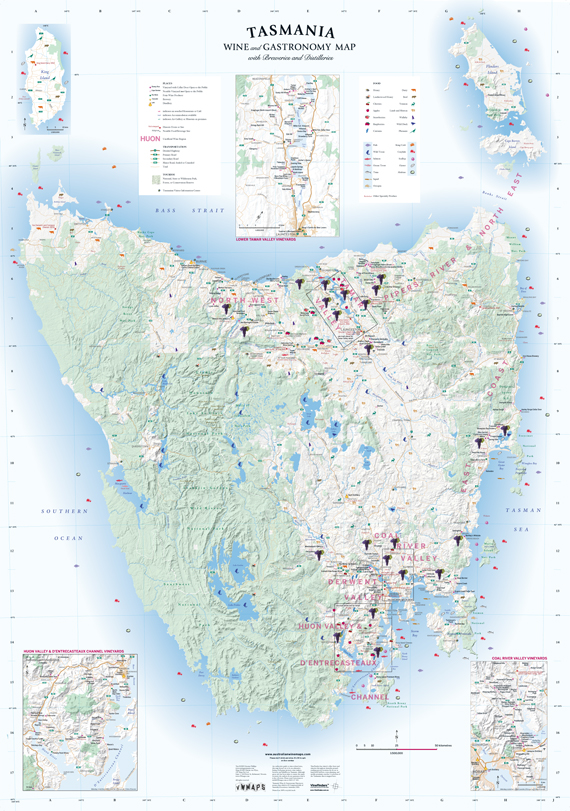 tasmania wine gastronomy map with breweries and distilleries